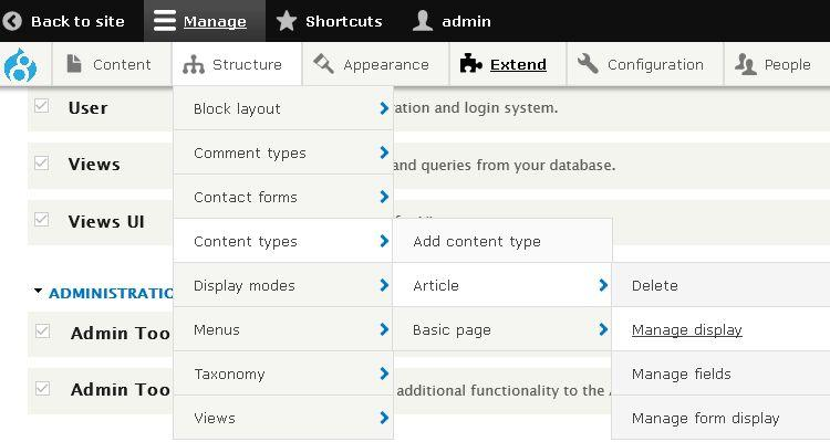 Admin Toolbar: Drop Down Menu untuk Administrasi Drupal 8
