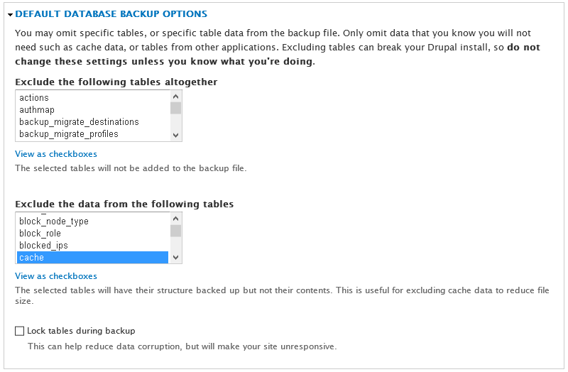 Default Database Backup Options