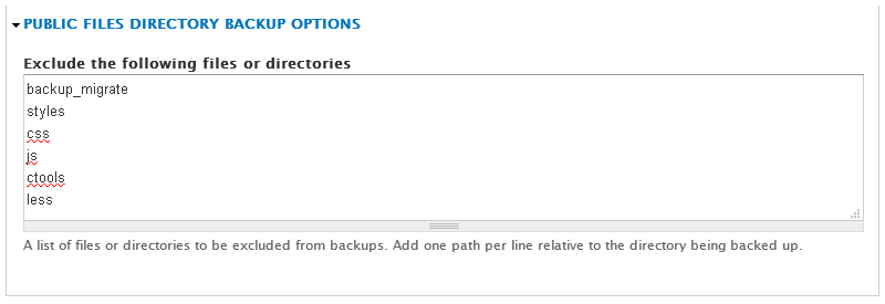 Public Files Directory Backup Options