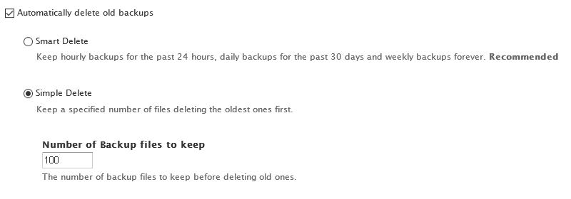 Create New Schedules - Delete Old Backups