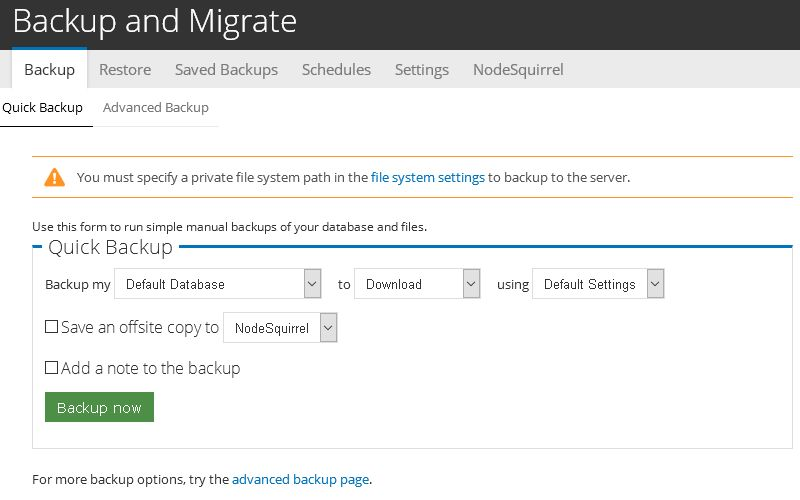 Backup and Migrate