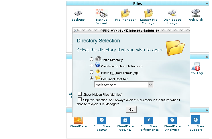 Menu File Manager pada Cpanel